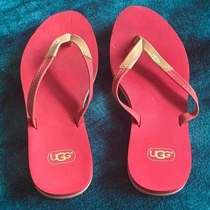 UGG Australia red flip flops/thong sandals
